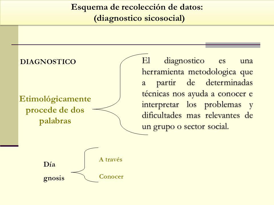 Esquema de recolección de datos: (diagnostico sicosocial) Esquema de recolección de datos: (diagnostico sicosocial) DIAGNOSTICO Etimológicamente proce