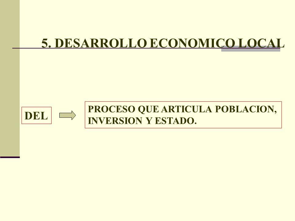 5. DESARROLLO ECONOMICO LOCAL PROCESO QUE ARTICULA POBLACION, INVERSION Y ESTADO. DEL