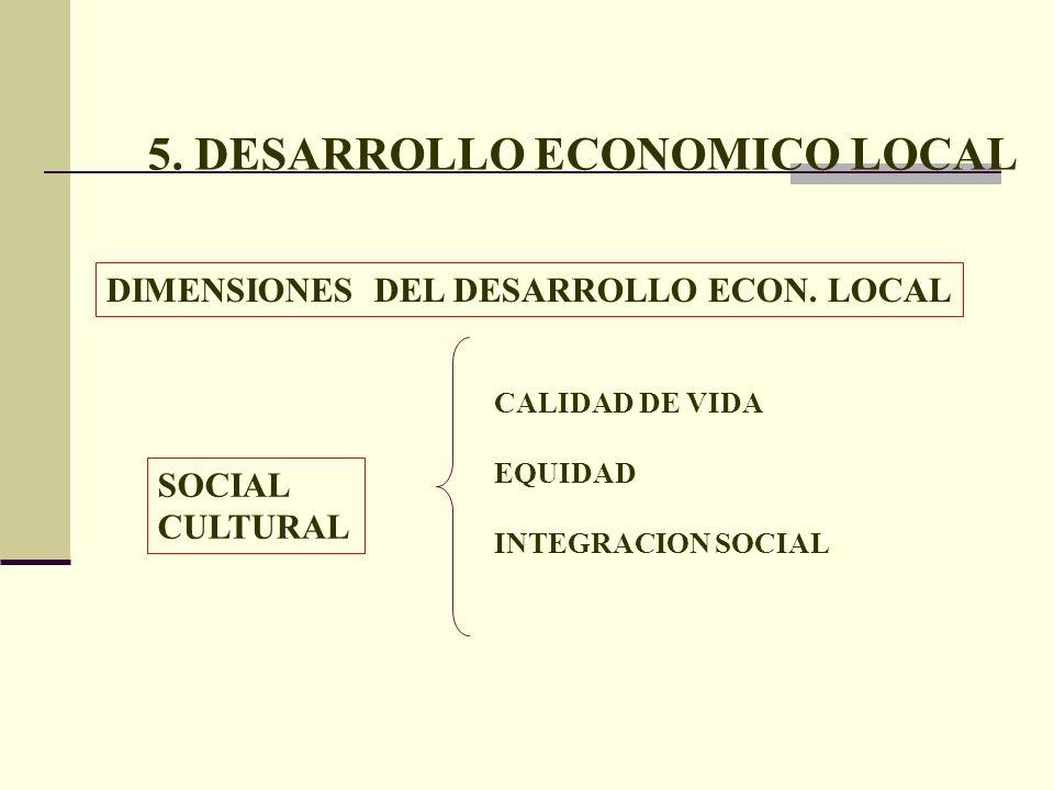 5. DESARROLLO ECONOMICO LOCAL DIMENSIONES DEL DESARROLLO ECON. LOCAL SOCIAL CULTURAL CALIDAD DE VIDA EQUIDAD INTEGRACION SOCIAL