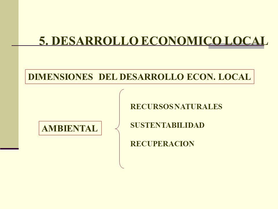 5. DESARROLLO ECONOMICO LOCAL DIMENSIONES DEL DESARROLLO ECON. LOCAL AMBIENTAL RECURSOS NATURALES SUSTENTABILIDAD RECUPERACION