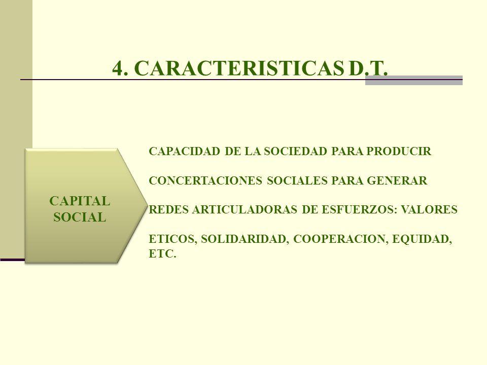 4. CARACTERISTICAS D.T. CAPITAL SOCIAL CAPACIDAD DE LA SOCIEDAD PARA PRODUCIR CONCERTACIONES SOCIALES PARA GENERAR REDES ARTICULADORAS DE ESFUERZOS: V