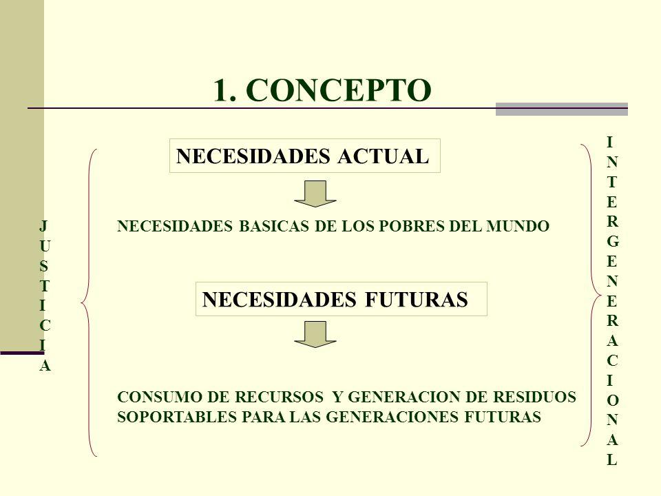 1. CONCEPTO NECESIDADES FUTURAS CONSUMO DE RECURSOS Y GENERACION DE RESIDUOS SOPORTABLES PARA LAS GENERACIONES FUTURAS NECESIDADES ACTUAL NECESIDADES
