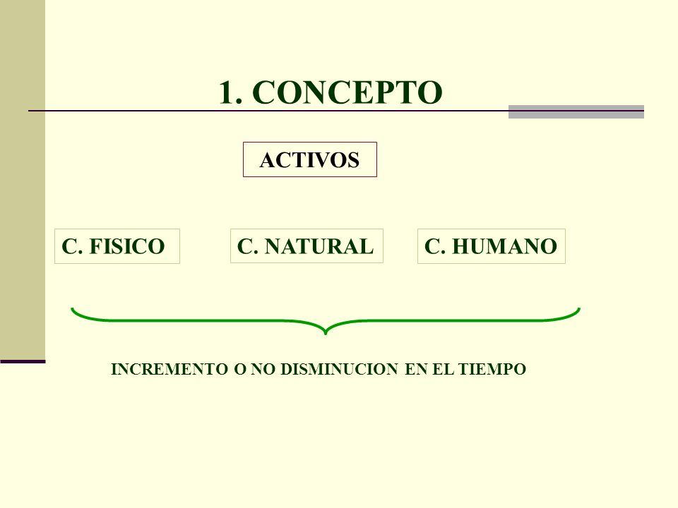 1. CONCEPTO ACTIVOS C. HUMANOC. FISICOC. NATURAL INCREMENTO O NO DISMINUCION EN EL TIEMPO