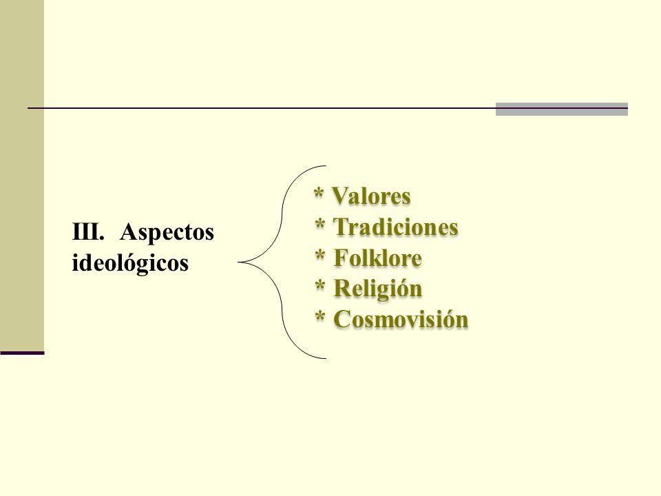* Valores * Tradiciones * Folklore * Religión * Cosmovisión * Valores * Tradiciones * Folklore * Religión * Cosmovisión III. Aspectos ideológicos