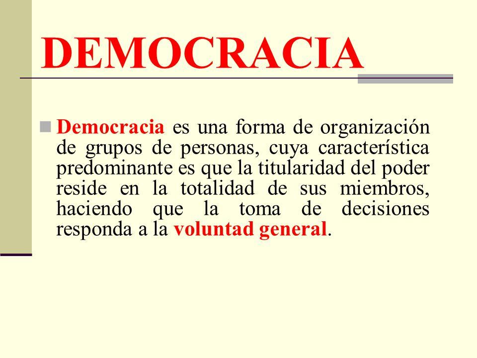 DEMOCRACIA Democracia es una forma de organización de grupos de personas, cuya característica predominante es que la titularidad del poder reside en l