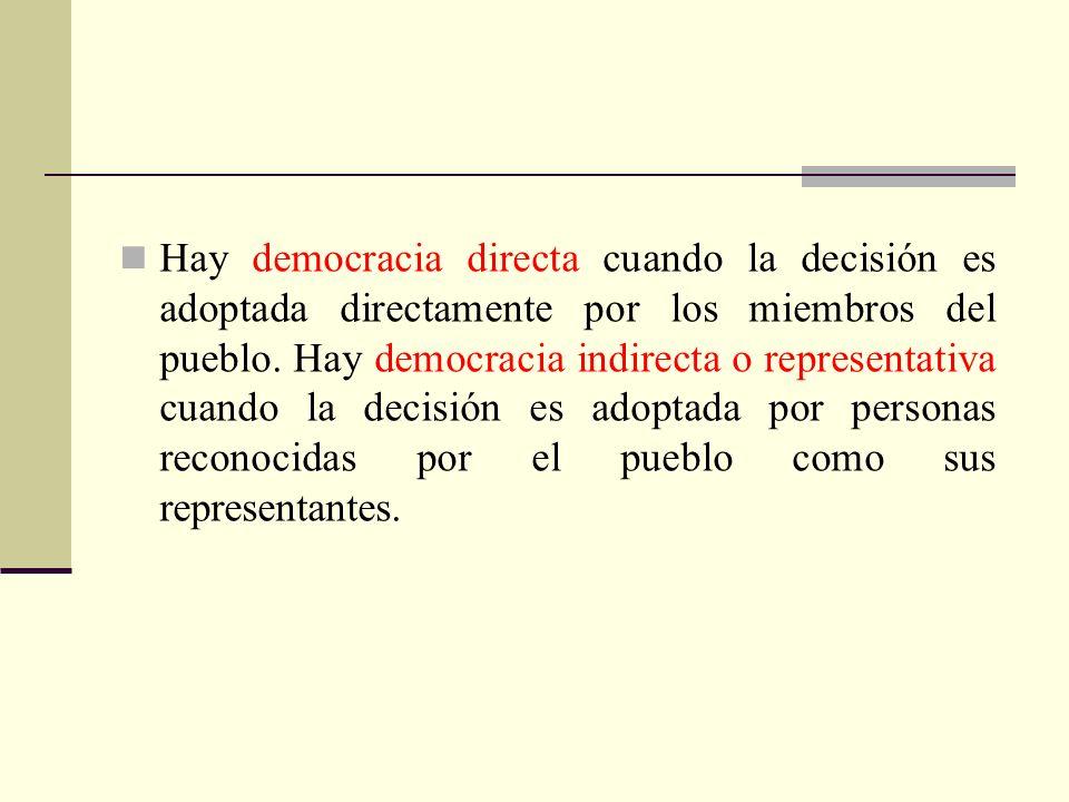 Hay democracia directa cuando la decisión es adoptada directamente por los miembros del pueblo. Hay democracia indirecta o representativa cuando la de