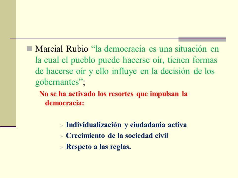 Marcial Rubio la democracia es una situación en la cual el pueblo puede hacerse oír, tienen formas de hacerse oír y ello influye en la decisión de los