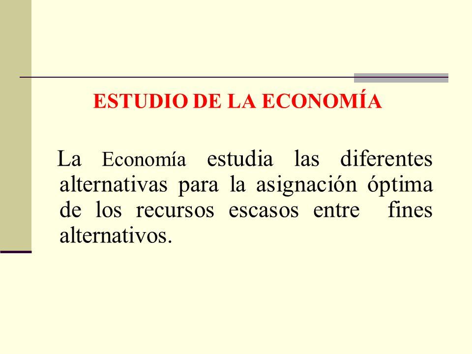ESTUDIO DE LA ECONOMÍA La Economía estudia las diferentes alternativas para la asignación óptima de los recursos escasos entre fines alternativos.