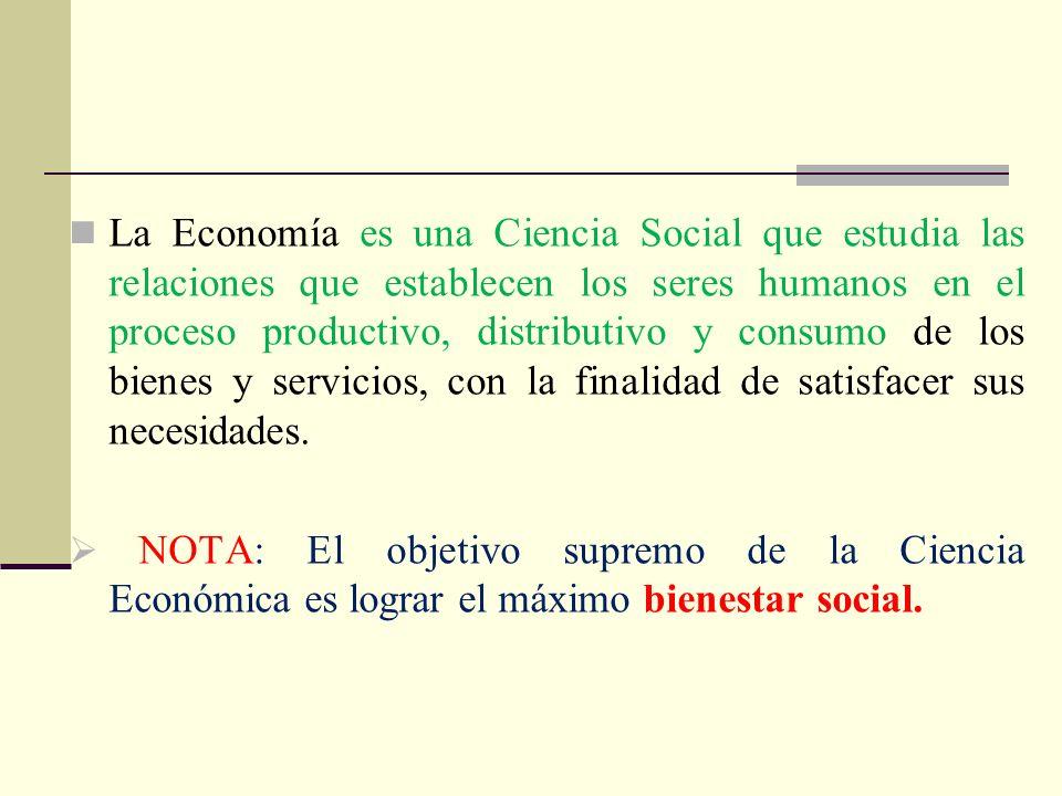 La Economía es una Ciencia Social que estudia las relaciones que establecen los seres humanos en el proceso productivo, distributivo y consumo de los
