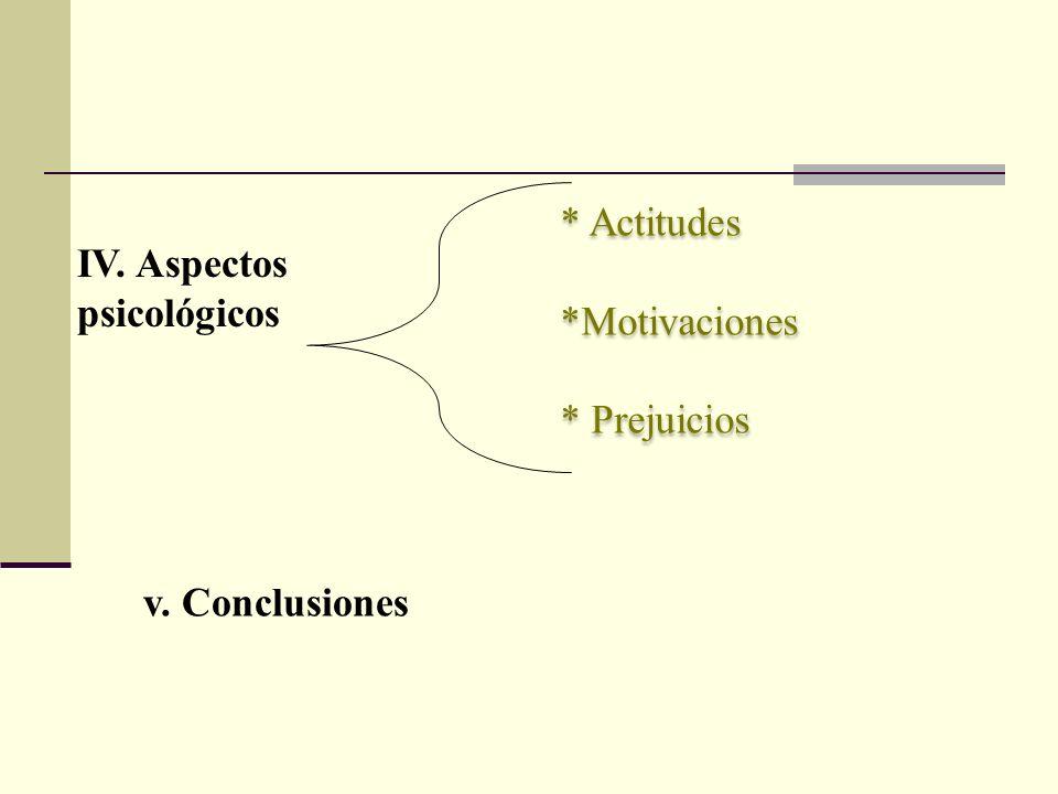 * Actitudes *Motivaciones * Prejuicios * Actitudes *Motivaciones * Prejuicios IV. Aspectos psicológicos v. Conclusiones