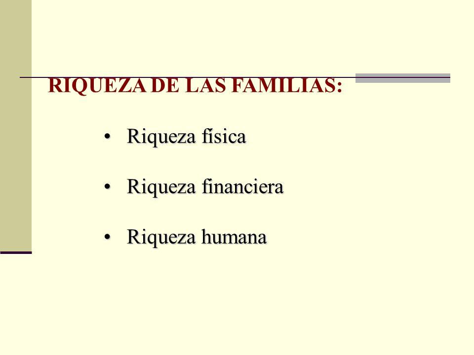 RIQUEZA DE LAS FAMILIAS: Riqueza física Riqueza física Riqueza financiera Riqueza financiera Riqueza humana Riqueza humana