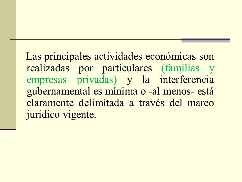 Las principales actividades económicas son realizadas por particulares (familias y empresas privadas) y la interferencia gubernamental es mínima o -al