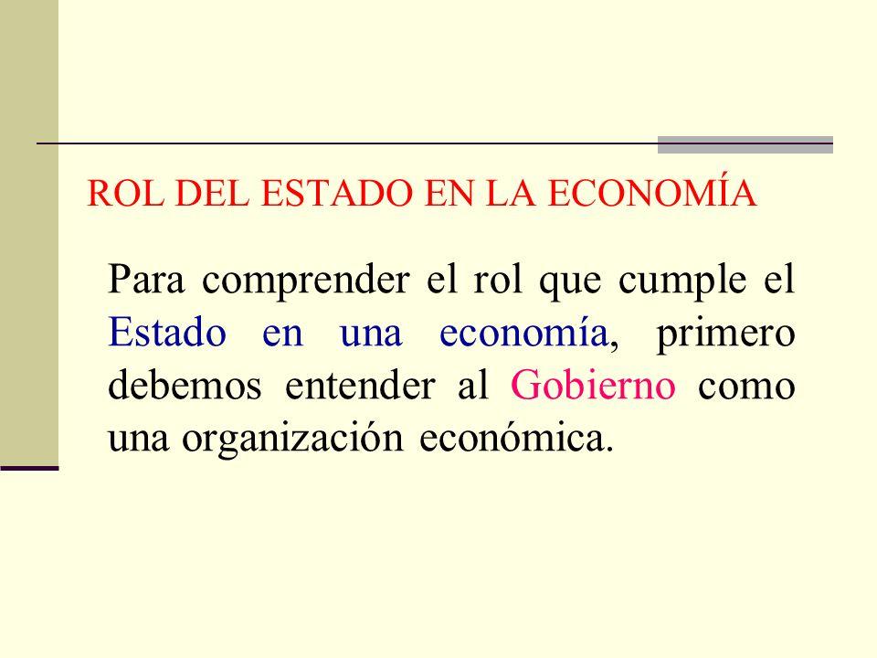 ROL DEL ESTADO EN LA ECONOMÍA Para comprender el rol que cumple el Estado en una economía, primero debemos entender al Gobierno como una organización