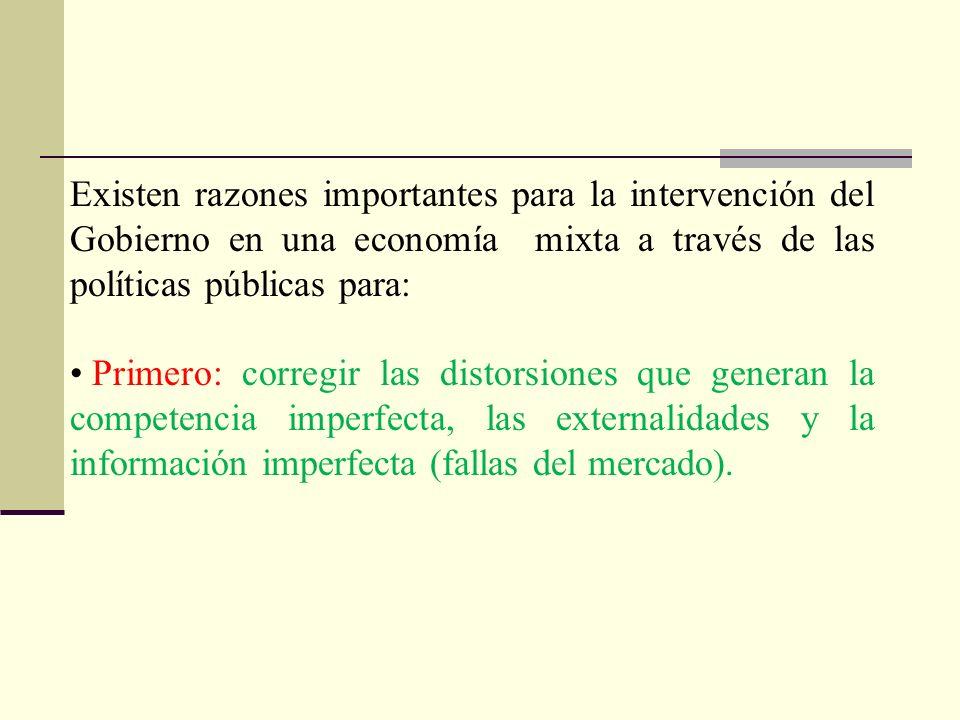 Existen razones importantes para la intervención del Gobierno en una economía mixta a través de las políticas públicas para: Primero: corregir las dis