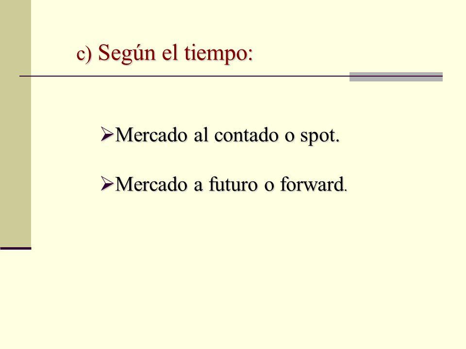 c) Según el tiempo: Mercado al contado o spot. Mercado al contado o spot. Mercado a futuro o forward. Mercado a futuro o forward.