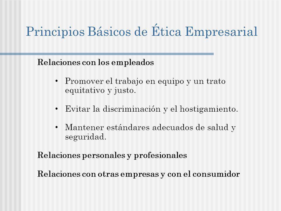 Principios Básicos de Ética Empresarial Relaciones con los empleados Promover el trabajo en equipo y un trato equitativo y justo.