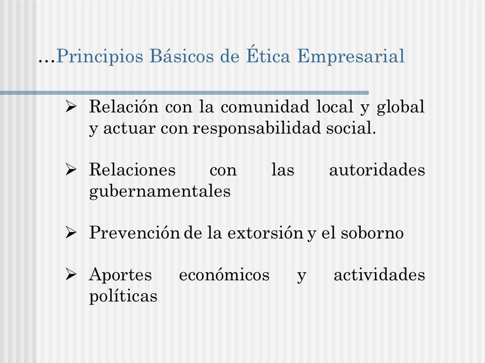 …Principios Básicos de Ética Empresarial Relación con la comunidad local y global y actuar con responsabilidad social.