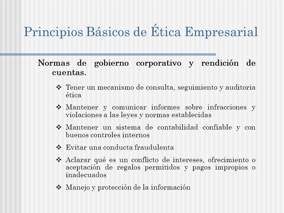Principios Básicos de Ética Empresarial Normas de gobierno corporativo y rendición de cuentas.