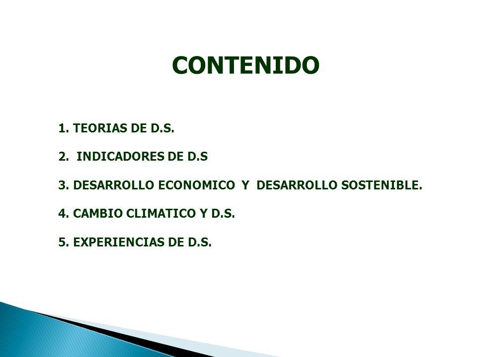 CONTENIDO 1. TEORIAS DE D.S. 2. INDICADORES DE D.S 3.