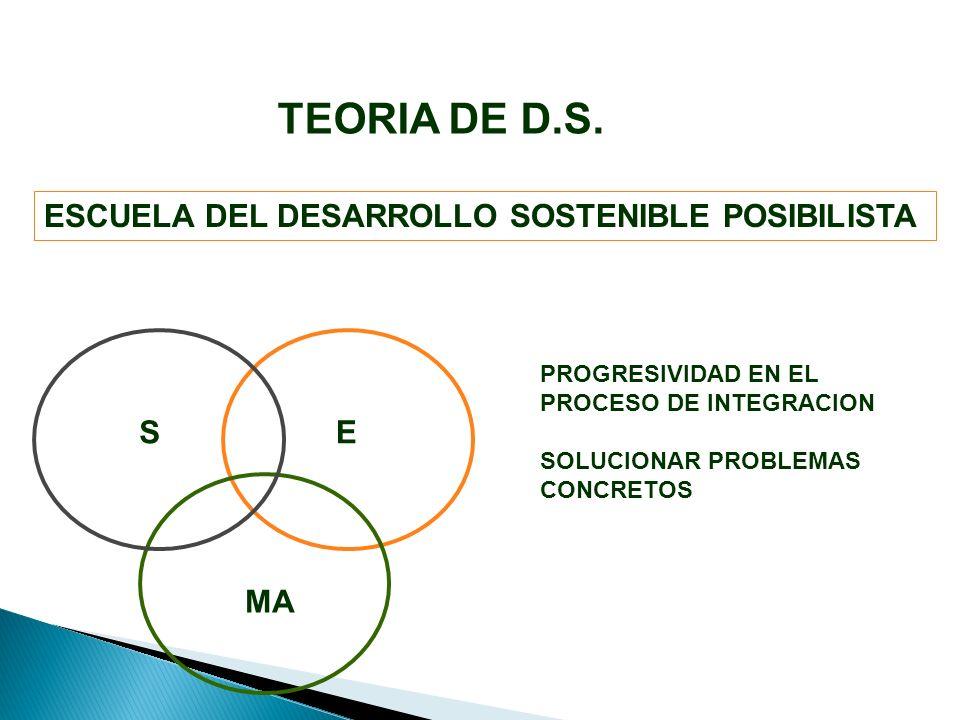 ESCUELA DEL DESARROLLO SOSTENIBLE POSIBILISTA E MA S PROGRESIVIDAD EN EL PROCESO DE INTEGRACION SOLUCIONAR PROBLEMAS CONCRETOS TEORIA DE D.S.