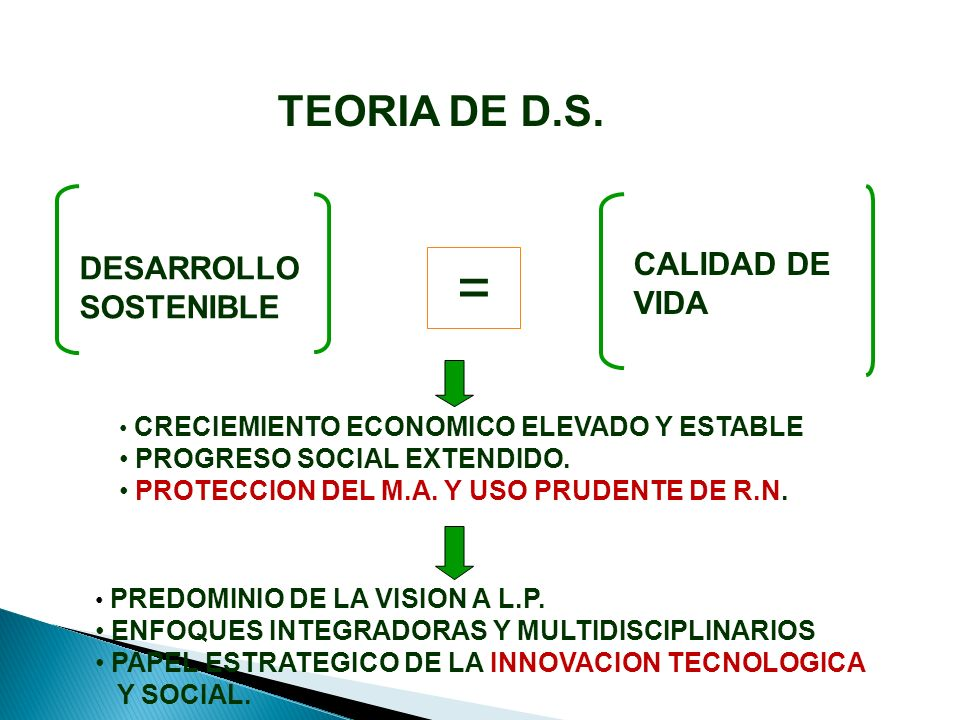 CALIDAD DE VIDA = DESARROLLO SOSTENIBLE PREDOMINIO DE LA VISION A L.P.