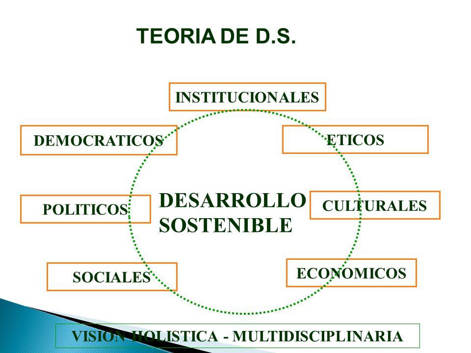 ETICOS POLITICOS INSTITUCIONALES DEMOCRATICOS VISION HOLISTICA - MULTIDISCIPLINARIA CULTURALES SOCIALES DESARROLLO SOSTENIBLE ECONOMICOS TEORIA DE D.S.