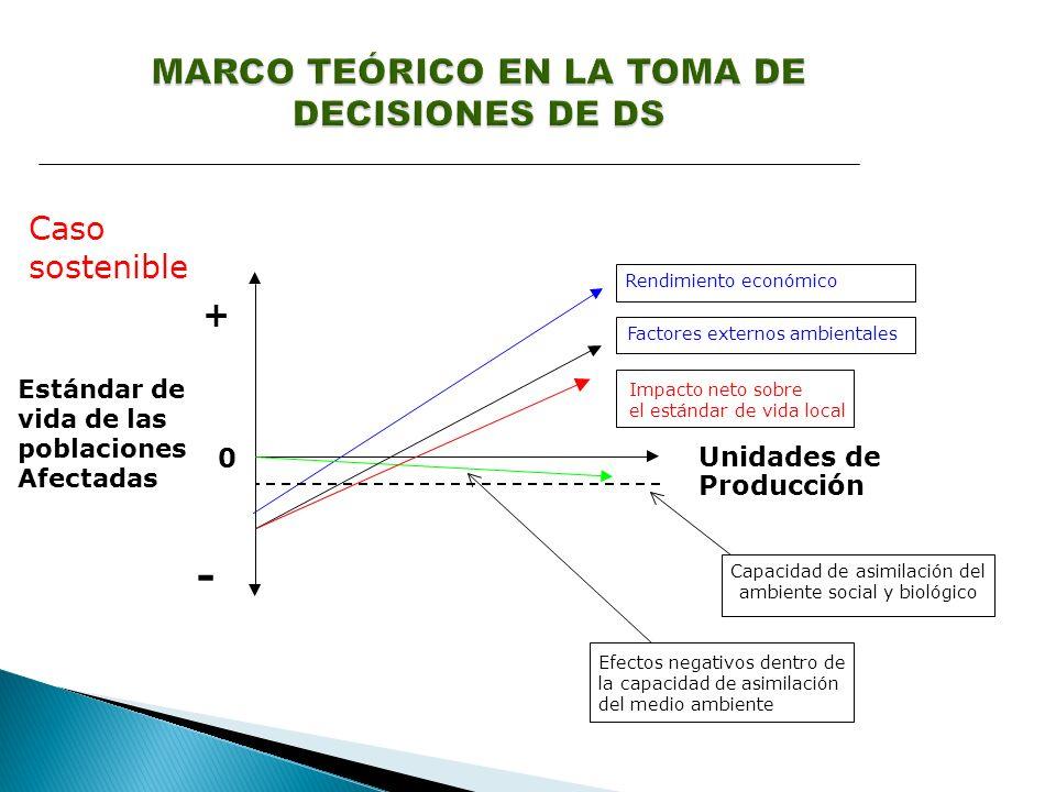 Caso sostenible Estándar de vida de las poblaciones Afectadas + - Unidades de Producción Rendimiento económico 0 Efectos negativos dentro de la capacidad de asimilación del medio ambiente Impacto neto sobre el estándar de vida local Factores externos ambientales Capacidad de asimilación del ambiente social y biológico