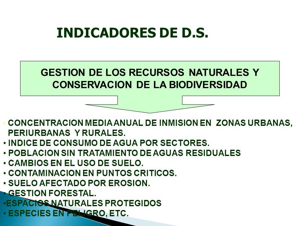 GESTION DE LOS RECURSOS NATURALES Y CONSERVACION DE LA BIODIVERSIDAD CONCENTRACION MEDIA ANUAL DE INMISION EN ZONAS URBANAS, PERIURBANAS Y RURALES.