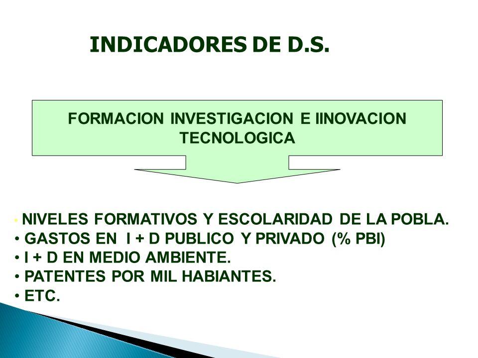 FORMACION INVESTIGACION E IINOVACION TECNOLOGICA NIVELES FORMATIVOS Y ESCOLARIDAD DE LA POBLA.