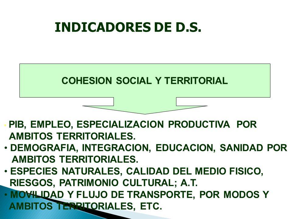 COHESION SOCIAL Y TERRITORIAL PIB, EMPLEO, ESPECIALIZACION PRODUCTIVA POR AMBITOS TERRITORIALES.