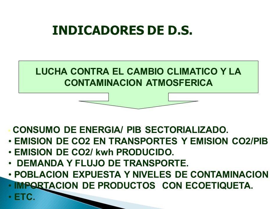 LUCHA CONTRA EL CAMBIO CLIMATICO Y LA CONTAMINACION ATMOSFERICA CONSUMO DE ENERGIA/ PIB SECTORIALIZADO.