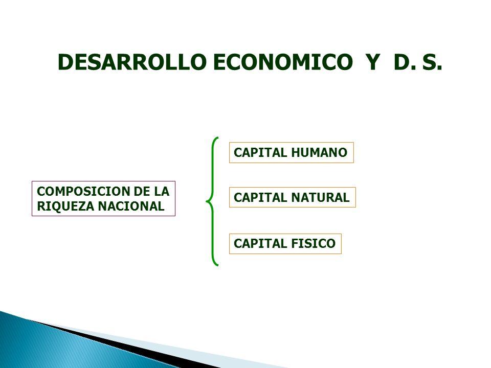 COMPOSICION DE LA RIQUEZA NACIONAL CAPITAL NATURAL CAPITAL FISICO CAPITAL HUMANO DESARROLLO ECONOMICO Y D.