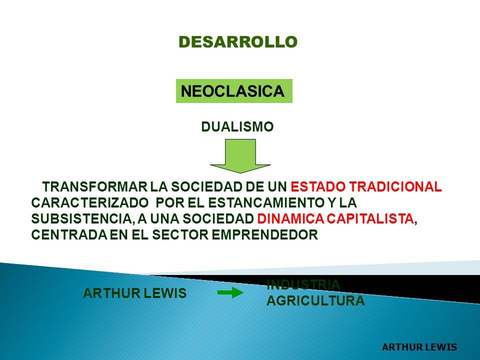 NEOCLASICA DUALISMO TRANSFORMAR LA SOCIEDAD DE UN ESTADO TRADICIONAL CARACTERIZADO POR EL ESTANCAMIENTO Y LA SUBSISTENCIA, A UNA SOCIEDAD DINAMICA CAPITALISTA, CENTRADA EN EL SECTOR EMPRENDEDOR ARTHUR LEWIS INDUSTRIA AGRICULTURA DESARROLLO ARTHUR LEWIS