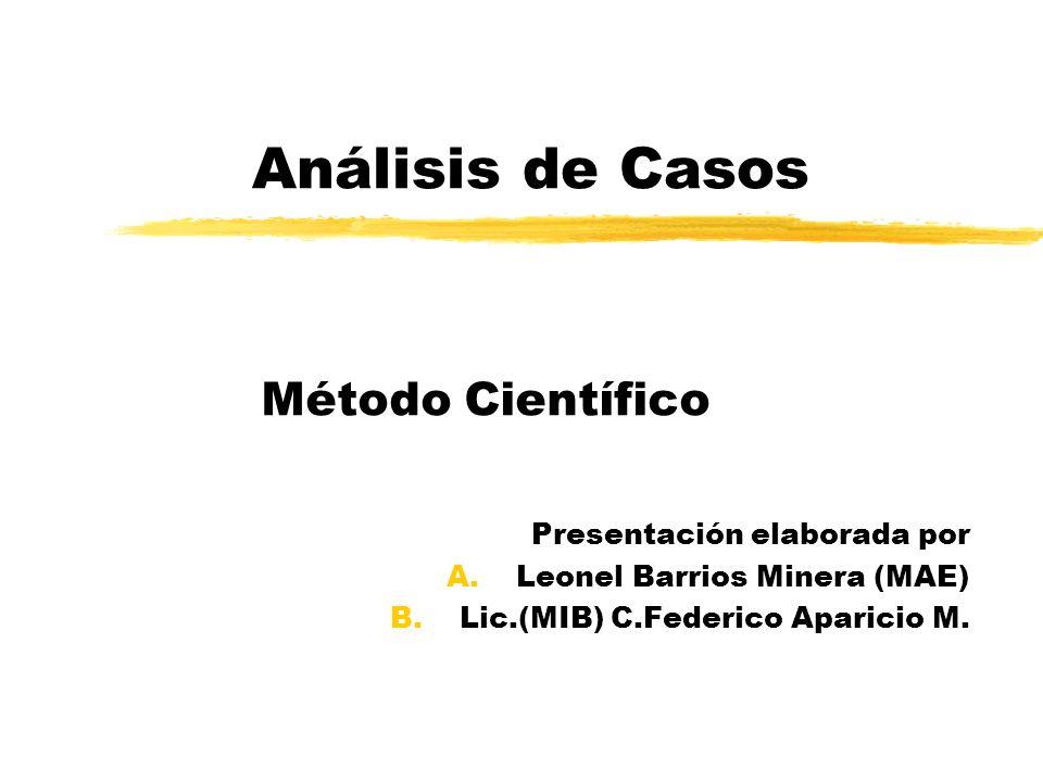 Análisis de Casos Método Científico Presentación elaborada por A.Leonel Barrios Minera (MAE) B.Lic.(MIB) C.Federico Aparicio M.