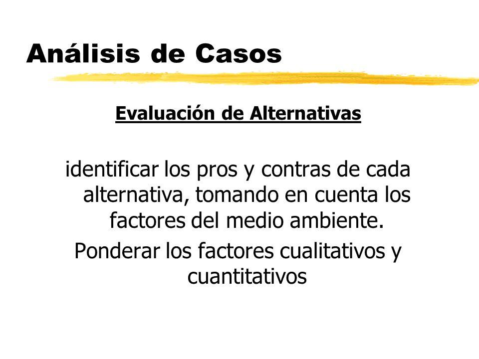 Análisis de Casos Evaluación de Alternativas identificar los pros y contras de cada alternativa, tomando en cuenta los factores del medio ambiente. Po