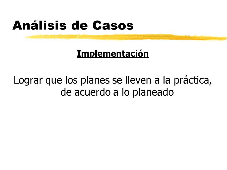 Análisis de Casos Implementación Lograr que los planes se lleven a la práctica, de acuerdo a lo planeado