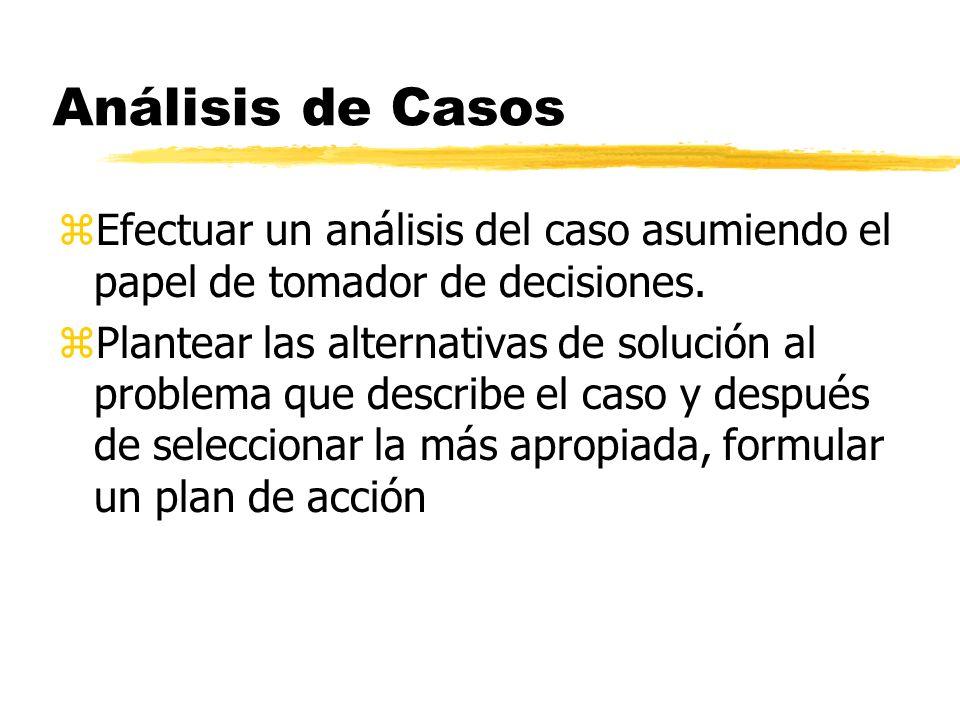 Análisis de Casos zEfectuar un análisis del caso asumiendo el papel de tomador de decisiones. zPlantear las alternativas de solución al problema que d