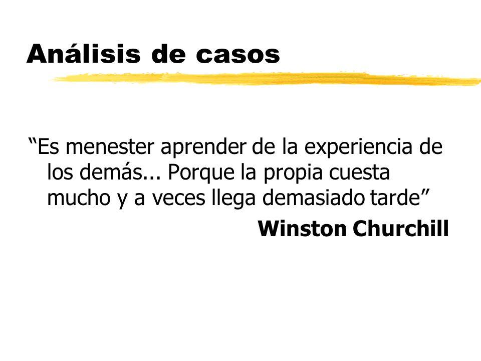 Análisis de casos Es menester aprender de la experiencia de los demás... Porque la propia cuesta mucho y a veces llega demasiado tarde Winston Churchi