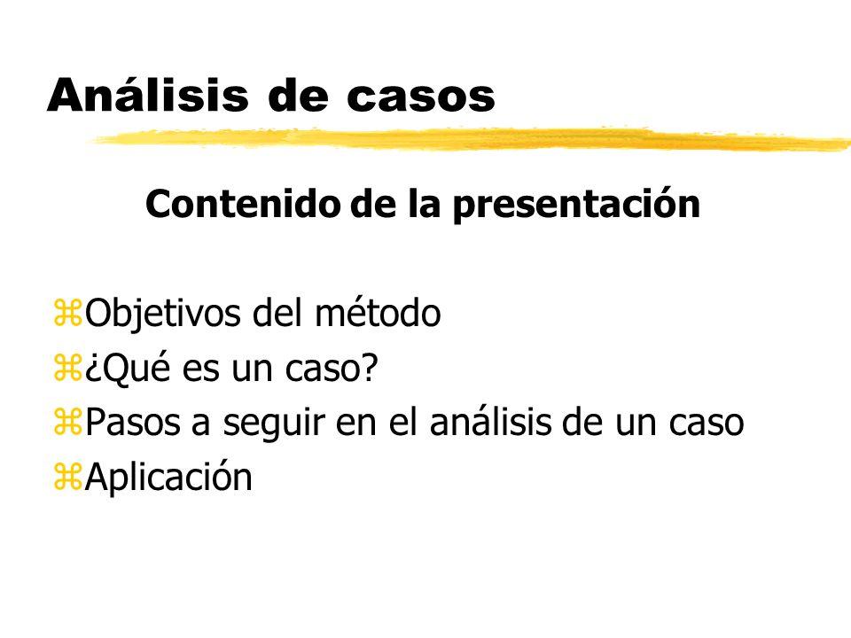 Análisis de casos Contenido de la presentación zObjetivos del método z¿Qué es un caso? zPasos a seguir en el análisis de un caso zAplicación