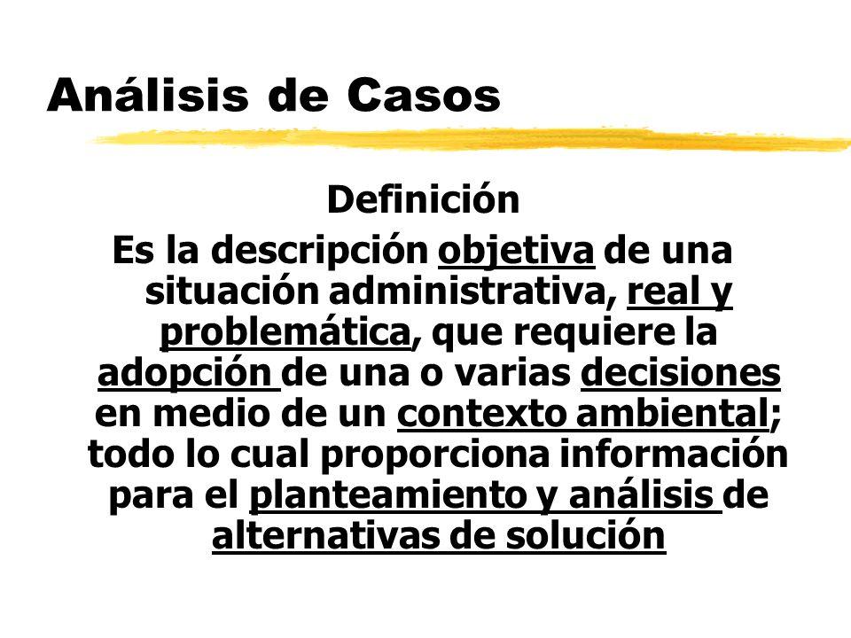 Análisis de Casos Definición Es la descripción objetiva de una situación administrativa, real y problemática, que requiere la adopción de una o varias
