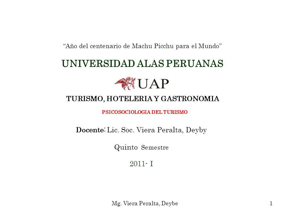 Año del centenario de Machu Picchu para el Mundo UNIVERSIDAD ALAS PERUANAS TURISMO, HOTELERIA Y GASTRONOMIA PSICOSOCIOLOGIA DEL TURISMO Docente: Lic.