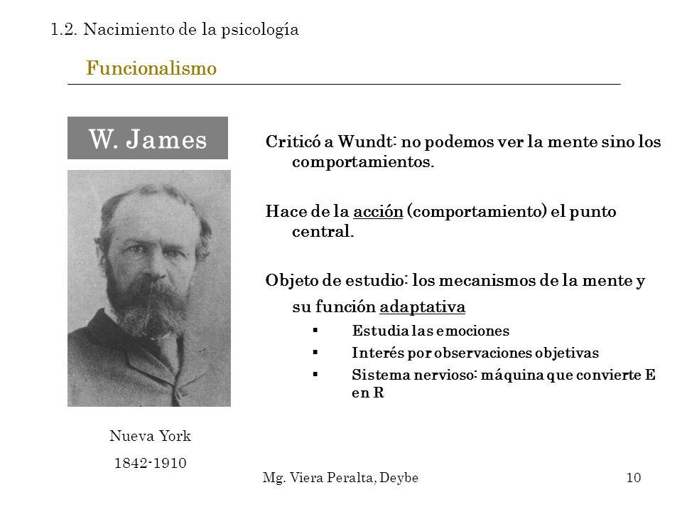 Funcionalismo Criticó a Wundt: no podemos ver la mente sino los comportamientos. Hace de la acción (comportamiento) el punto central. Objeto de estudi