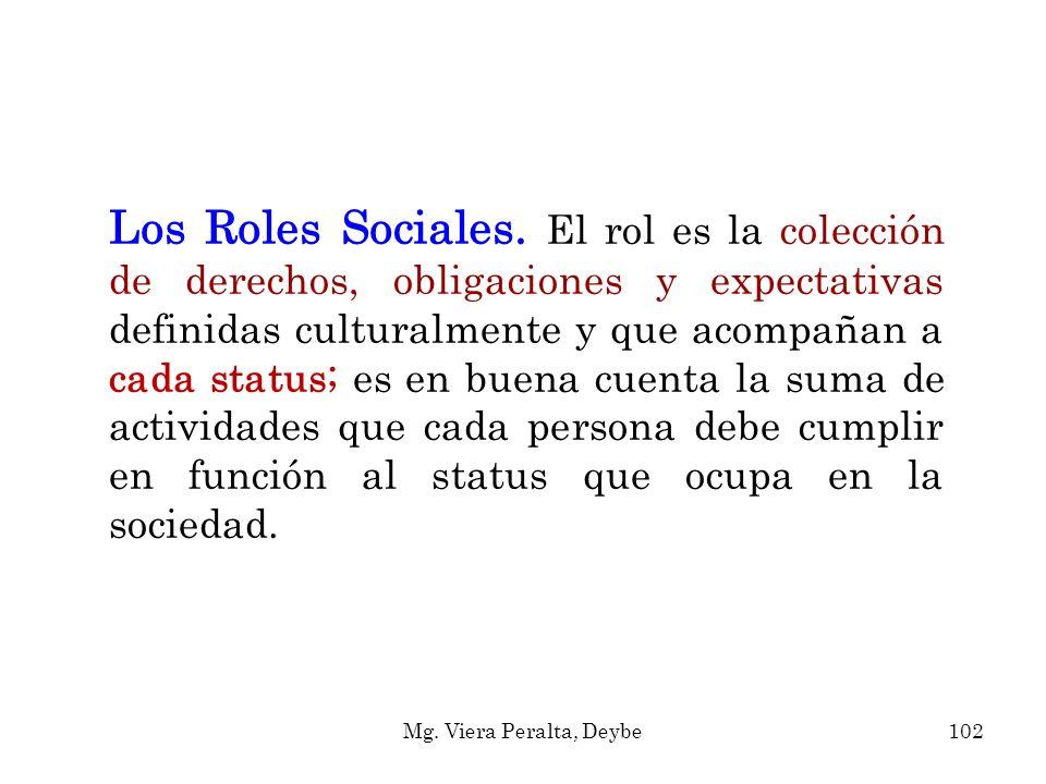 Los Roles Sociales. El rol es la colección de derechos, obligaciones y expectativas definidas culturalmente y que acompañan a cada status; es en buena