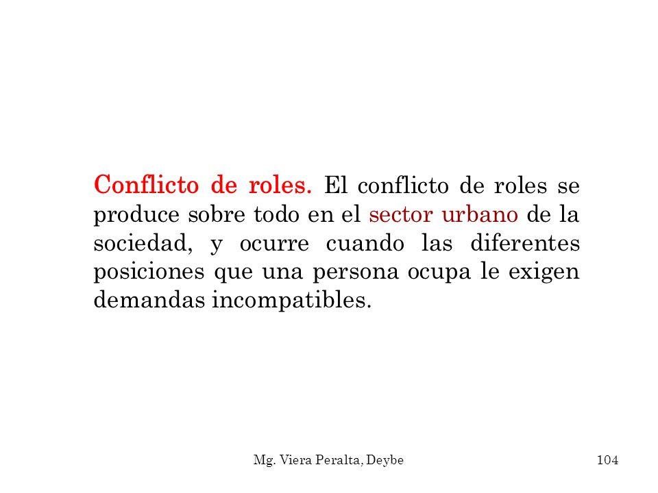 Conflicto de roles. El conflicto de roles se produce sobre todo en el sector urbano de la sociedad, y ocurre cuando las diferentes posiciones que una