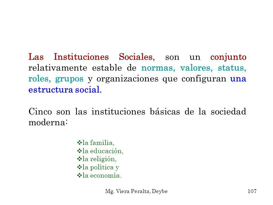 Las Instituciones Sociales, son un conjunto relativamente estable de normas, valores, status, roles, grupos y organizaciones que configuran una estruc