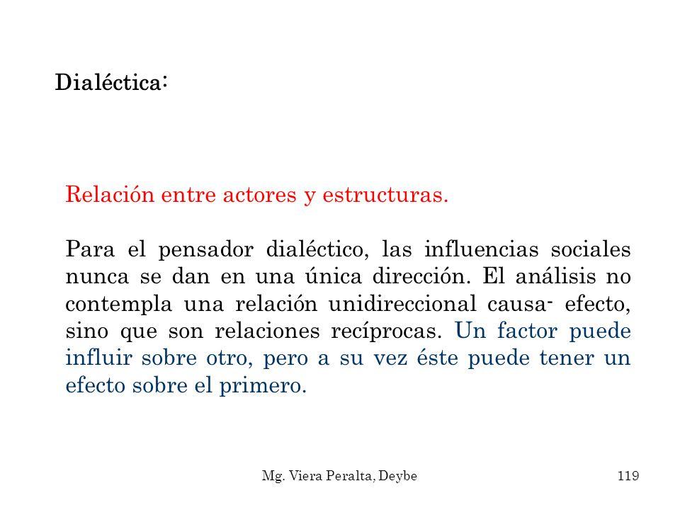 Dialéctica: Relación entre actores y estructuras. Para el pensador dialéctico, las influencias sociales nunca se dan en una única dirección. El anális