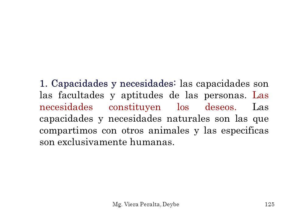 1. Capacidades y necesidades: las capacidades son las facultades y aptitudes de las personas. Las necesidades constituyen los deseos. Las capacidades