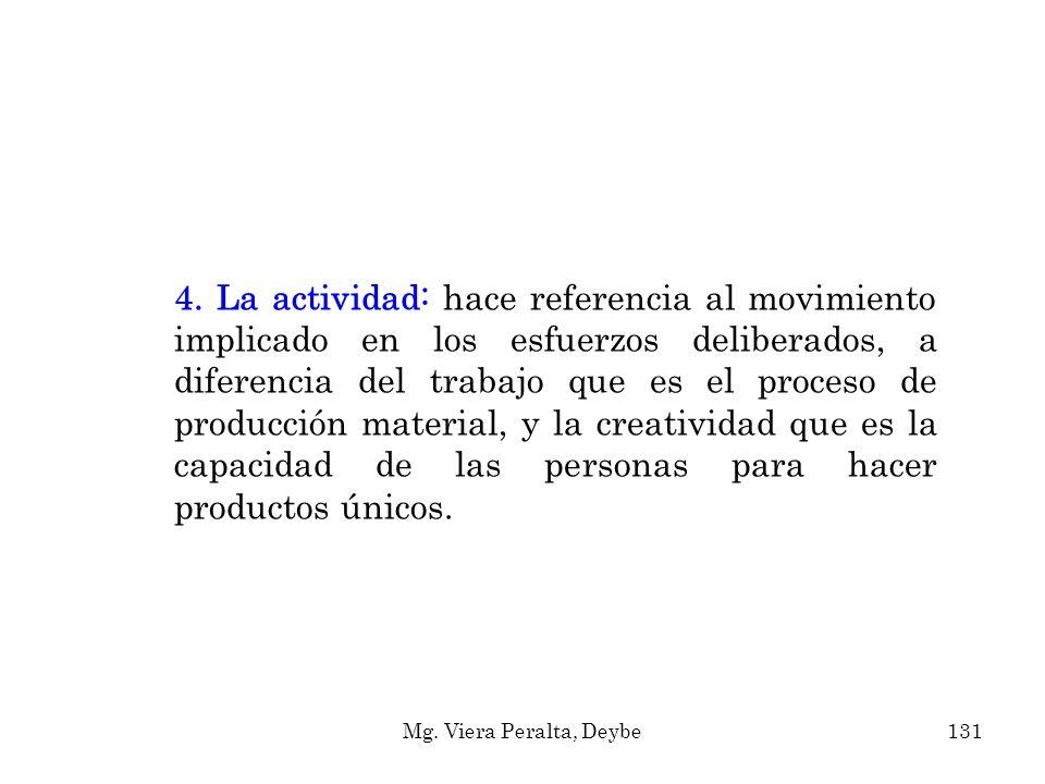 4. La actividad: hace referencia al movimiento implicado en los esfuerzos deliberados, a diferencia del trabajo que es el proceso de producción materi