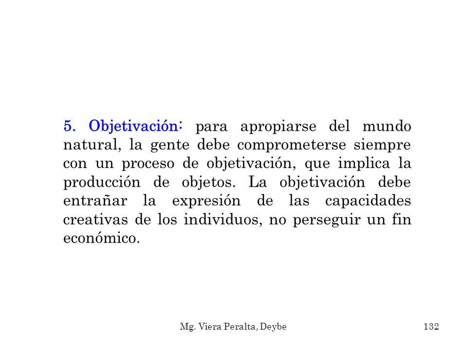 5. Objetivación: para apropiarse del mundo natural, la gente debe comprometerse siempre con un proceso de objetivación, que implica la producción de o