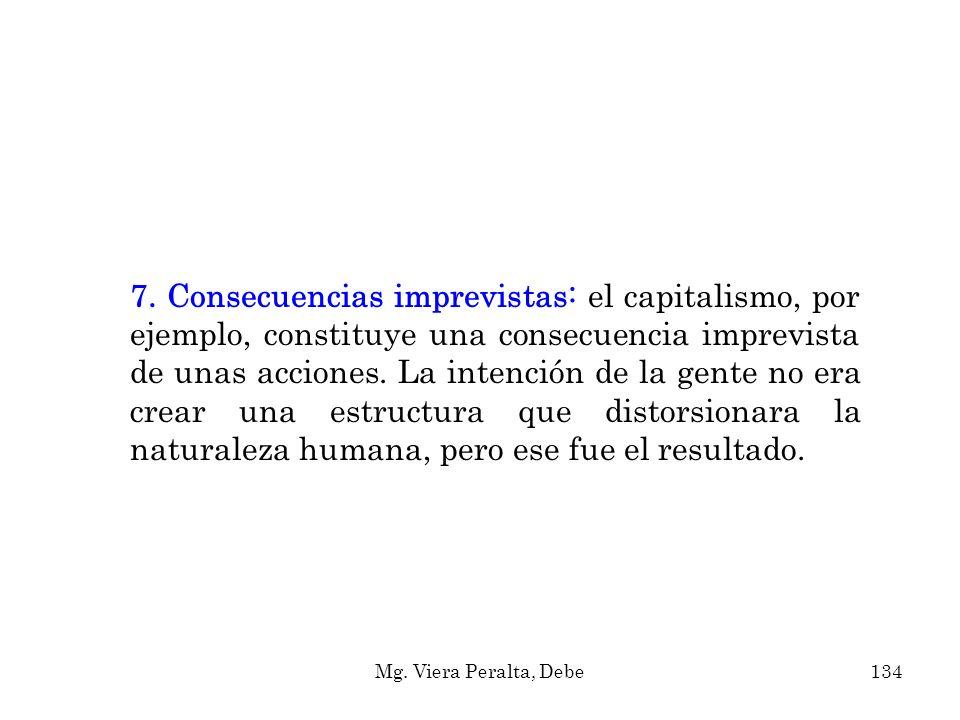 7. Consecuencias imprevistas: el capitalismo, por ejemplo, constituye una consecuencia imprevista de unas acciones. La intención de la gente no era cr